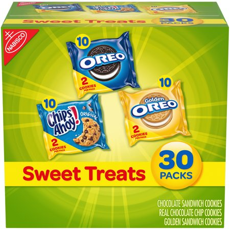 Fun Kids Halloween Snacks (Nabisco Oreo, Chips Ahoy!, & Golden Oreo Sweet Treats Variety Cookie Pack, 23.3 Oz., 30)