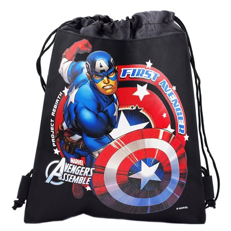Captain America Character Authentic Licensed Black Drawstring