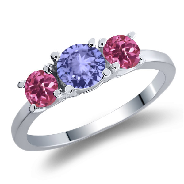 0.94 Ct Round Blue Tanzanite Pink Tourmaline 18K White Gold 3-Stone Ring by