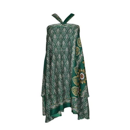 Mogul Silk Sari Magic Wrap Skirt Green Two Layer Reversible Sarong Dress Herringbone Silk Skirt