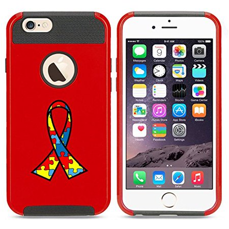 Red Awareness Ribbon (Apple iPhone 5 5s Shockproof Impact Hard Case Cover Autism Puzzle Color Awareness Ribbon (Red)
