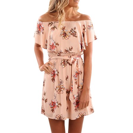 Loose Casual Cold Shoulder Print Chiffon Dress - Belle Dress For Women