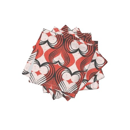 Cocktail Napkins Red Valentine'S Hearts Red Love Illustration Red Set of 4 - Valentine Cocktail