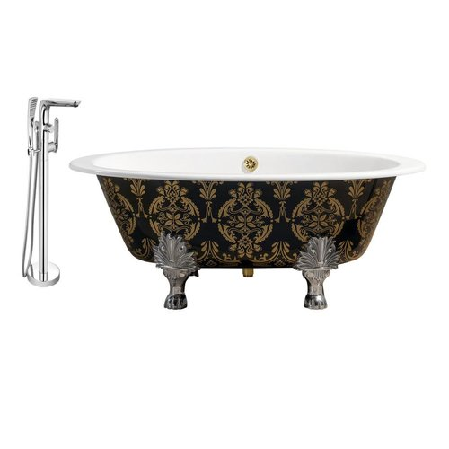 "Cast Iron Tub, Faucet and Tray Set 65"" RH5440CH-GLD-120"