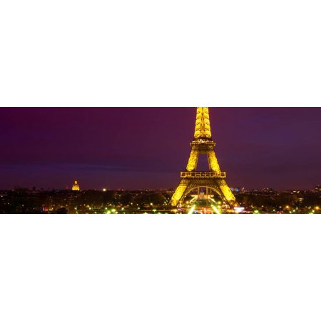 Panoramic Cityscape Paris with Eiffel Tower at Night Print Wall Art By Philippe Hugonnard