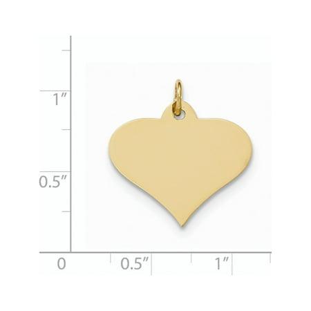 14k Yellow Gold Plain .013 Gauge Engraveable Heart Disc Pendant / Charm - image 1 de 2