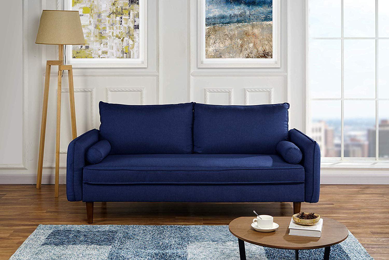 Modern Living Room Fabric Sofa Couch With Bolster Pillows Dark Blue Walmart Com Walmart Com
