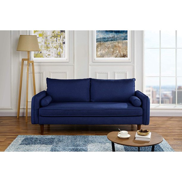 Modern Living Room Fabric Sofa Couch With Bolster Pillows Dark Blue Walmart Com Walmart Com