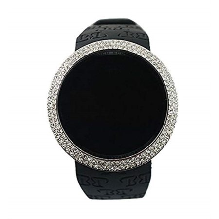 Iced Out Bling Lab Diamond Silver Black Digital Touch Screen Sports Watch Silicone -
