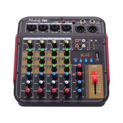Muslady TM4 Digital 4-Channel Audio Mixer Mixing Console,Built-in 48V Phantom Power with BT Function Professional Audio System for Studio Recording Broadcasting DJ Network Live