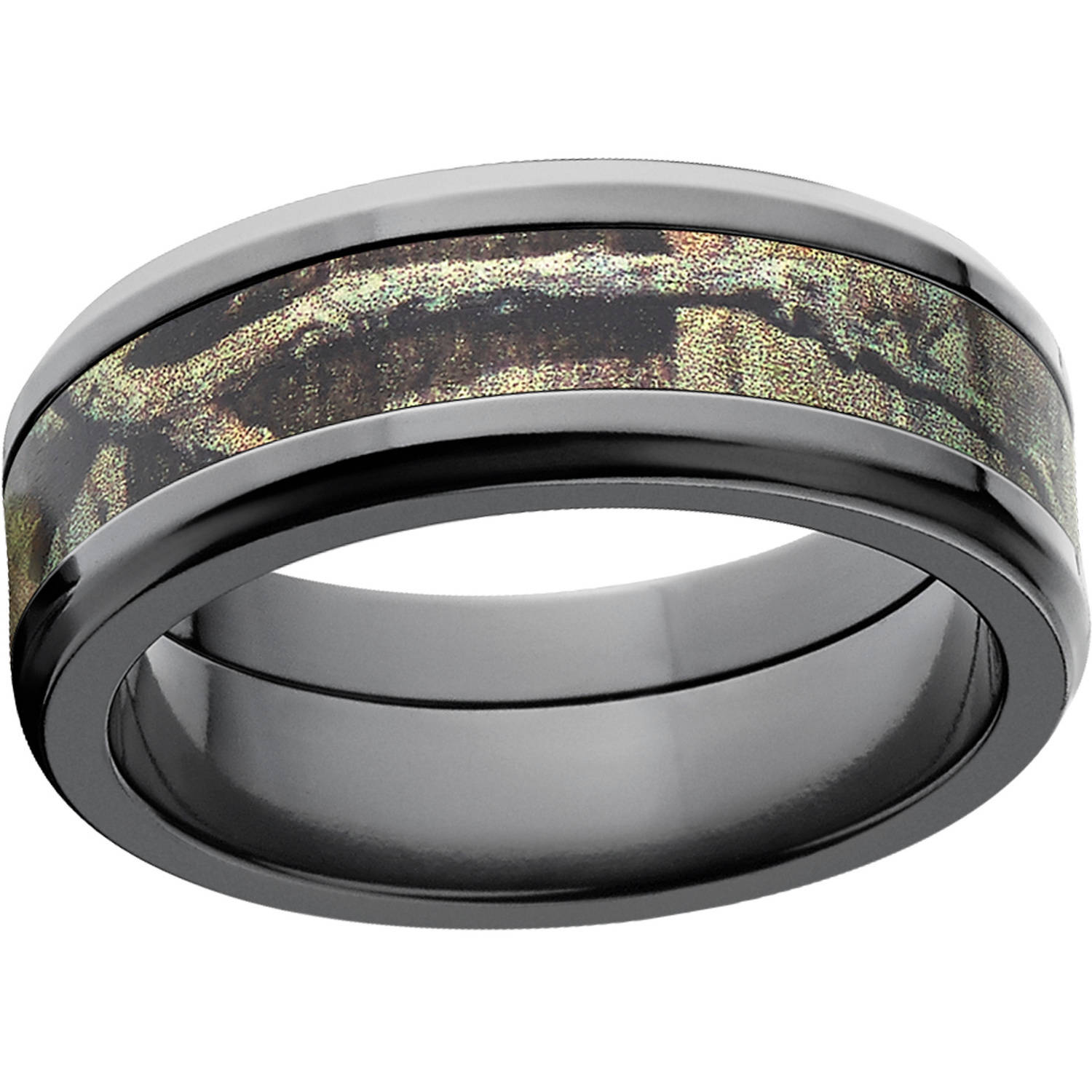 Mossy Oak Break Up Infinity Men's Camo 8mm Black Zirconium Band with Polished Edges and Deluxe Comfort Fit