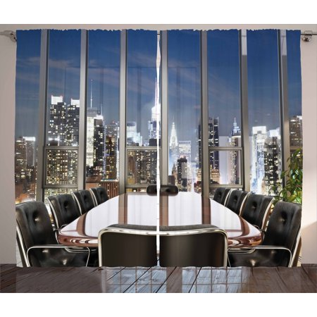 Modern Curtains 2 Panels Set, Business Office Conference Room Table Chairs City View at Dusk Realistic Photo, Window Drapes for Living Room Bedroom, 108W X 63L Inches, Grey Black Blue, by Ambesonne ()