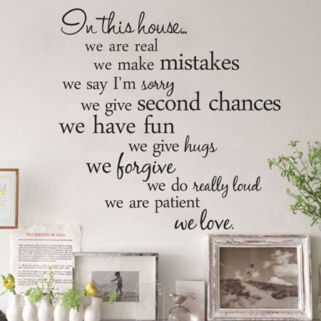 Outgeek Wall Stickers Decals Creative Personal in this house Quote Stickers Removable Decorative Wall Art Decal Decoration for Living Room TV Background Bedroom Home Dorm Wall Decor (Dora Wall Decorations)