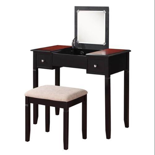 Linon Camden Vanity Set With Mirror And Stool, Black