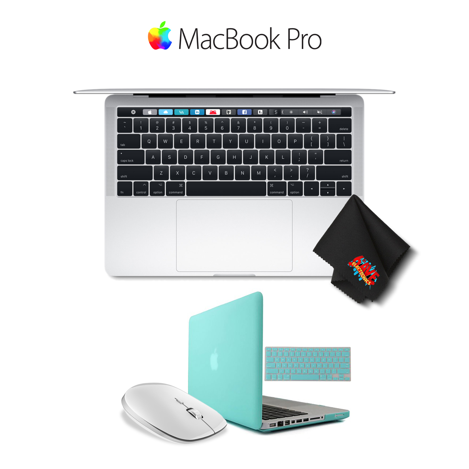 """Apple MacBook Pro MPXX2LL/A 13.3"""" with Touch Bar (Mid 2017 Version, Silver) Bundle w/White Mouse w/Turquoise Case and Keyboard Cover"""