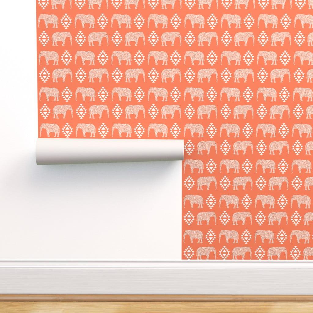 Peel And Stick Removable Wallpaper Elephant Orange Aztec Baby Nursery Indian Walmart Com Walmart Com