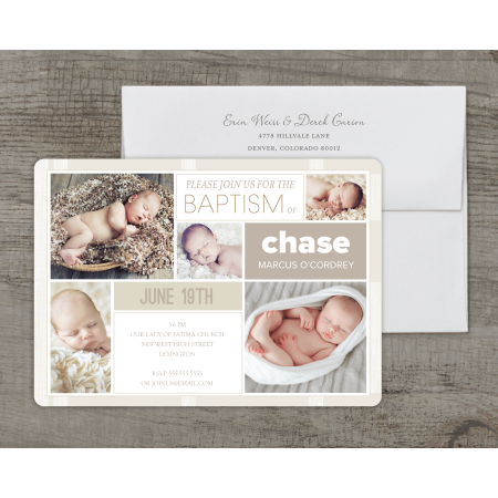 Personalized Baptism/Christening Deluxe 5 x 7 Invitation - Clean - On Line Invitations