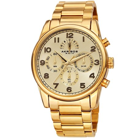 Akribos Xxiv Mens Automatic Watch - Akribos XXIV  Men's Rugged Chronograph Gold-tone Stainless Steel Bracelet Watch