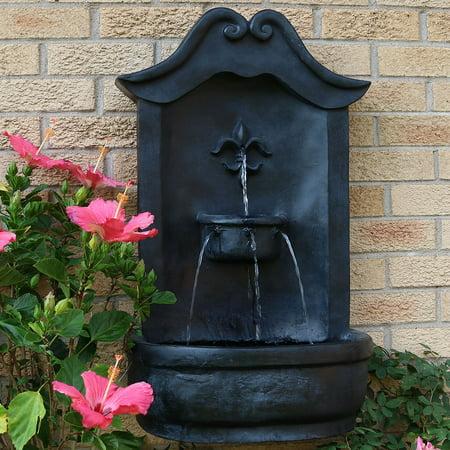 Sunnydaze Flower of France Solar Wall Fountain, 29 Inch, Solar on Demand,