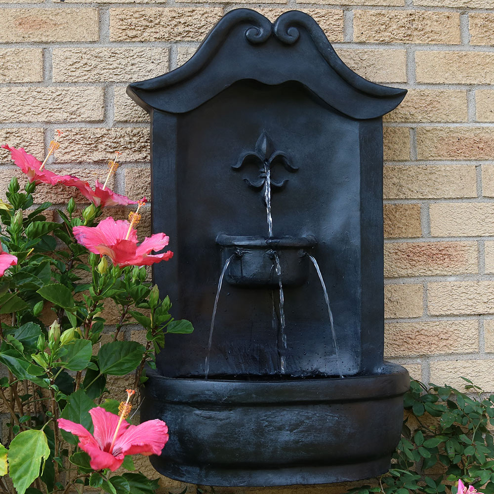 Sunnydaze Flower of France Solar Wall Fountain, 29 Inch, Solar on Demand, Lead