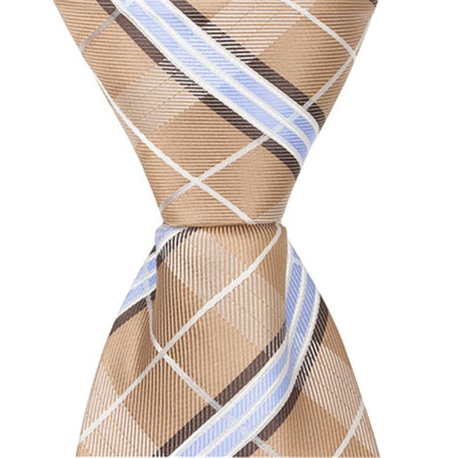 Matching Tie Guy 5291 XN26 - 9.5 in. Zipper Necktie - Brown With Blue & White Plaid, 6 to 18 Month - image 1 of 1