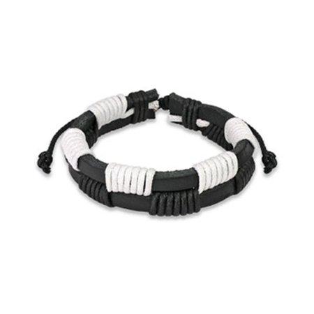 White Knotted Leather - Black & White Leather Bracelet With Zig-Zag Shocker Knots