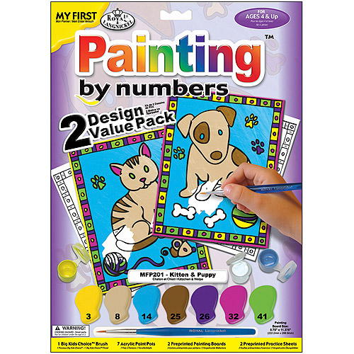 "My First Paint By Number Kit 8-3/4""X11-3/8"" 2/Pkg-Kitten & Puppy"