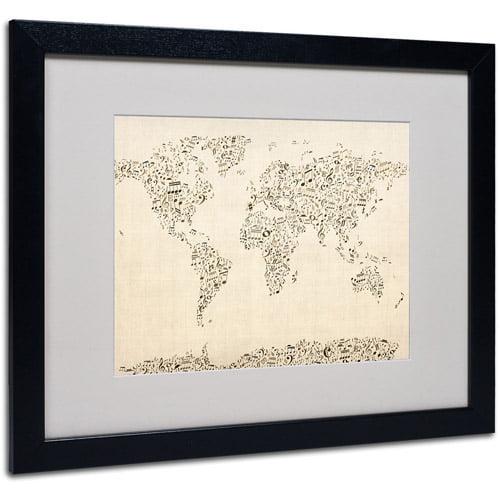 Trademark Art 'World Map - Music Notes' Matted Framed Art by Michael Tompsett