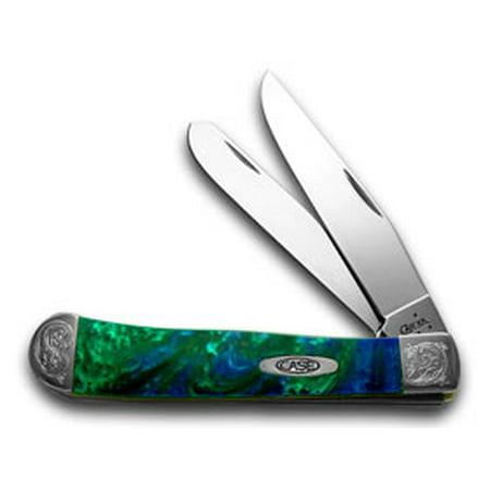 CASE XX Engraved Bolster Series Genuine Aquarius Corelon Trapper Pocket Knives (Commemorative Trapper Knife)