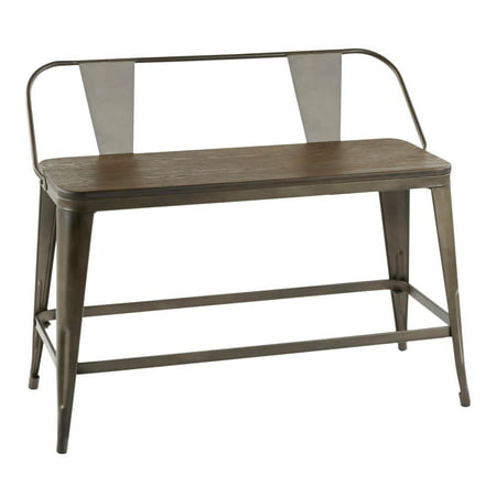 Oregon Industrial Counter Bench in Antique Metal and Espresso Wood-Pressed Grain Bamboo by LumiSource ()