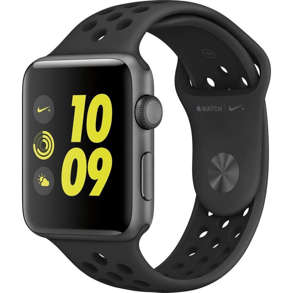 Watch Nike+ 38mm Space Gray Aluminum Case Anthracite/Black Nike Sport Band - Space Gray AluminumModel: MQ162LL/A Smart Smartwatch for iPhone Series 2