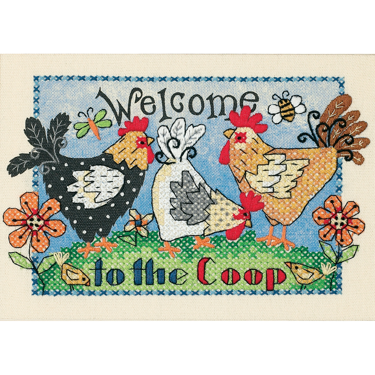 "Dimensions ""Welcome To The Coop"" Mini Stamped Cross Stitch Kit, 7"" x 5"""