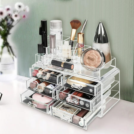 Ktaxon Acrylic Makeup Organizer Cosmetic Storage Holder with 6 Drawers
