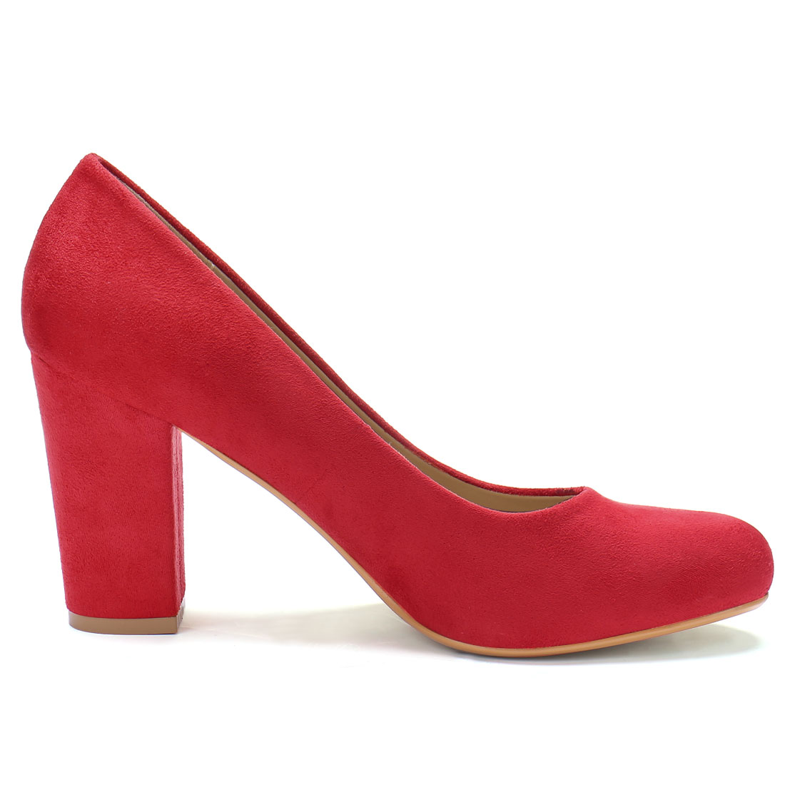 Ladies Rounded Toe High Block Heel Classic Pumps Red US 6 - image 6 of 7