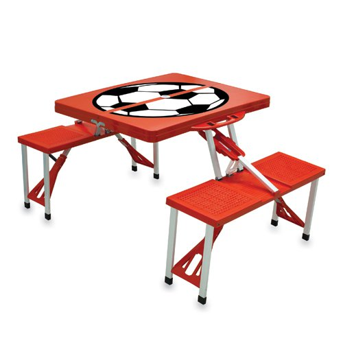 Picnic Time Red Folding Picnic Table With Soccer Imprint