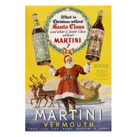 Martini Vermouth - What Is Christmas Without It? Print Wall Art ()