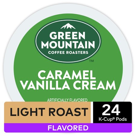 Green Mountain Coffee Caramel Vanilla Cream Flavored K-Cup Pods, Light Roast, 24 Count for Keurig (Green Mountain Caramel Vanilla Cream K Cups)