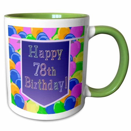 3dRose Balloons with Purple Banner Happy 78th Birthday - Two Tone Green Mug, 11-ounce - Happy Birthday Green