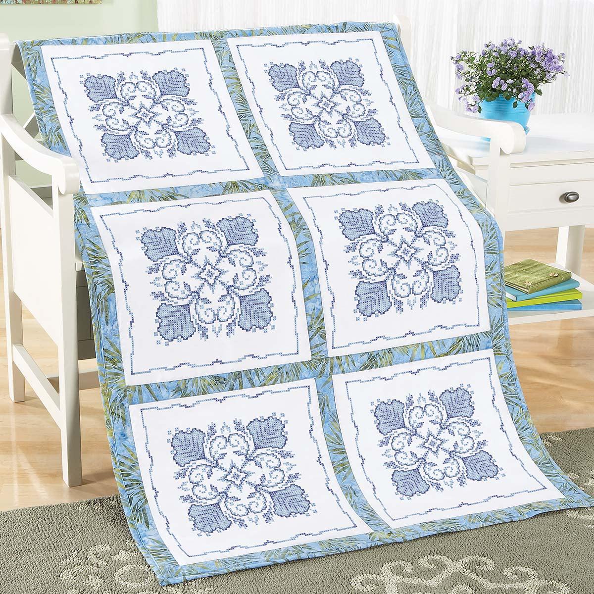 Herrschners® Azure Dreams Quilt Blocks Stamped Cross-Stitch