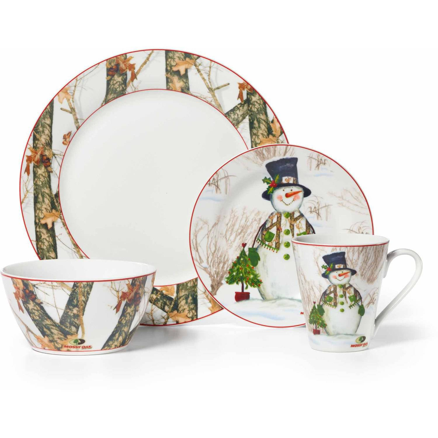 Mossy Oak Break Up Infinity 16-Piece Dinnerware Set, Holiday Snowman