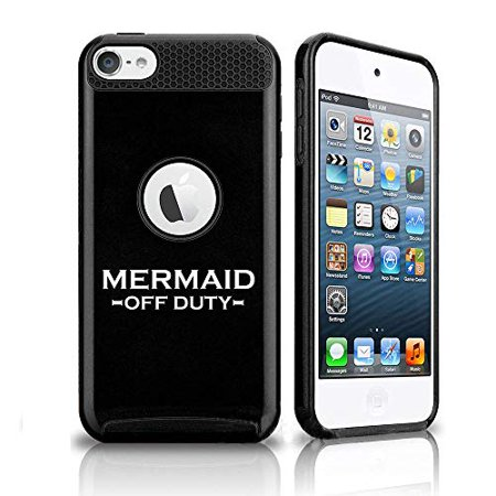 Off Apple Ipod - Shockproof Impact Hard Soft Case Cover for Apple (iPod Touch 5th / 6th) Mermaid Off Duty (Black)