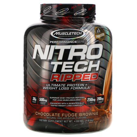Muscletech Nitro Tech Ripped, Ultimate Protein + Weight Loss Formula, Chocolate Fudge Brownie, 4 lbs (1.81 kg)