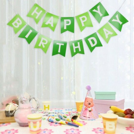KABOER Green Happy Birthday Bunting Banner - Pastel Hanging Letters Party Decor