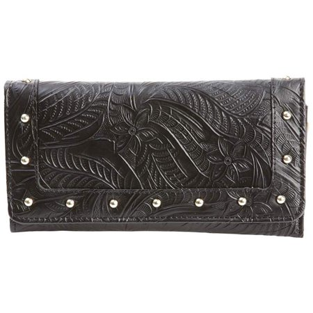 Wallet Womens ID Credit Card Case Holder Slim Tri-Fold Black Genuine Leather