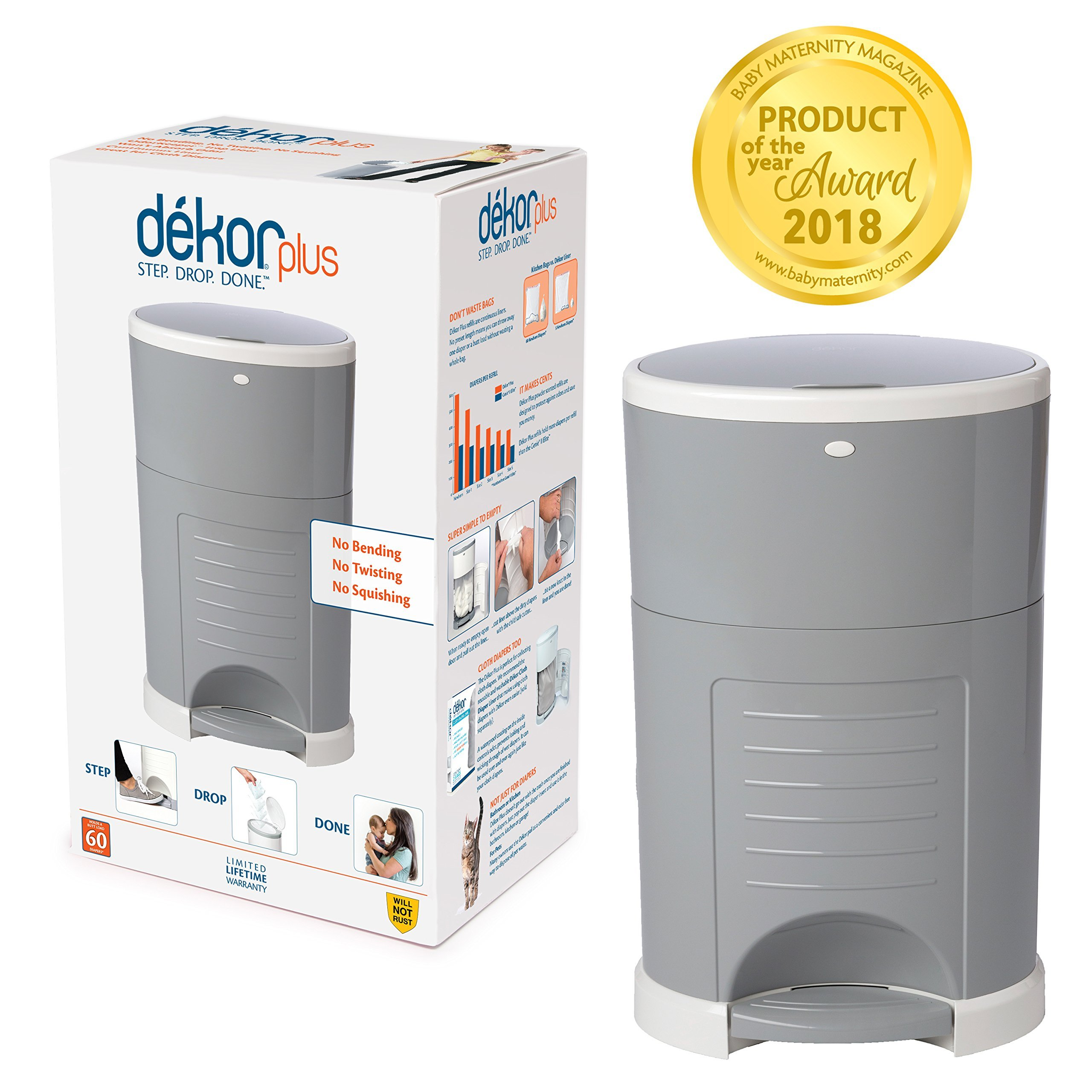 Dekor Plus Hands-Free Diaper Pail | Easiest to Use | Just Step. Drop. Done! | Pail Wont Absorb Odors Rust | 20... by Dekor