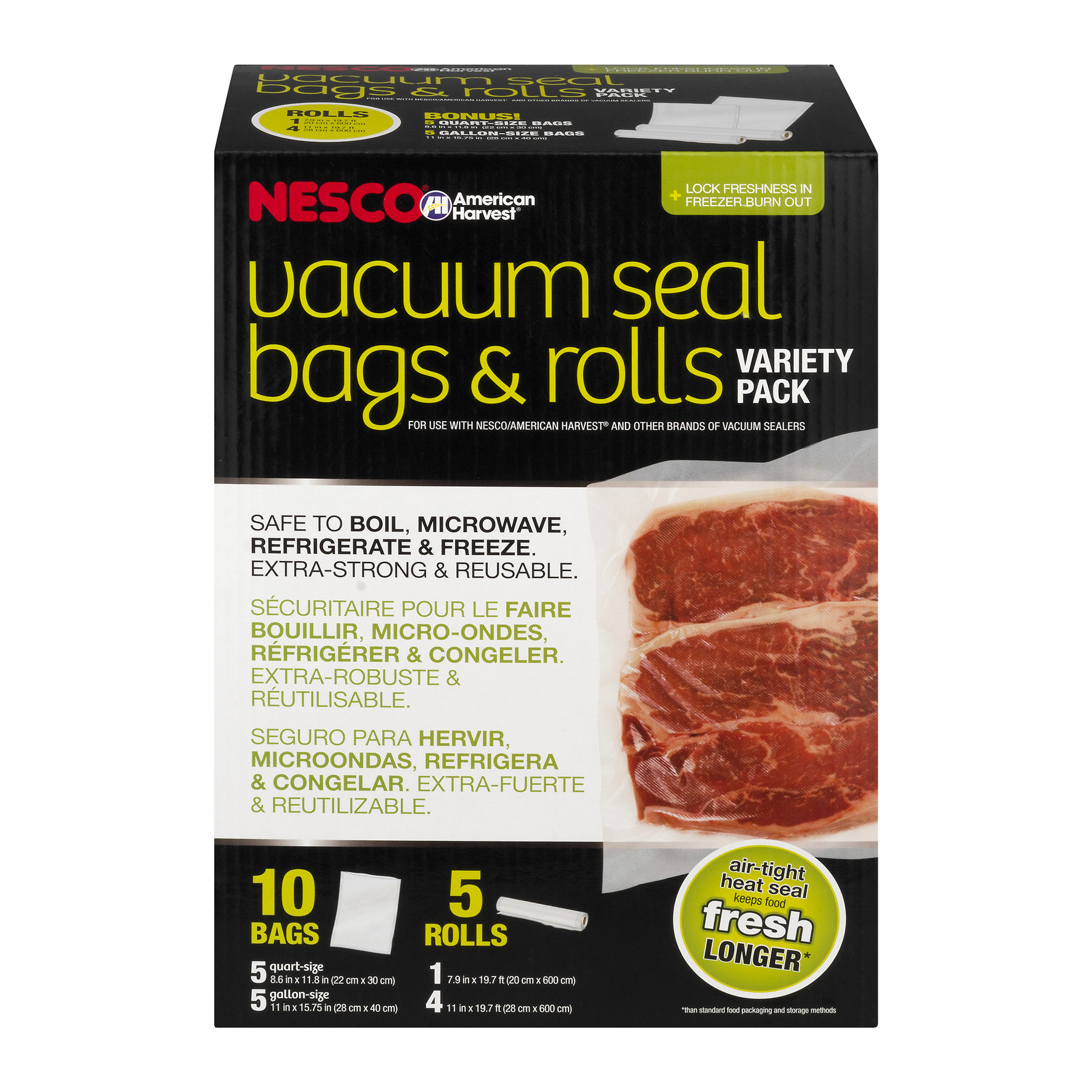 Nesco VS-07V Variety Pack of Vacuum Sealer Bags