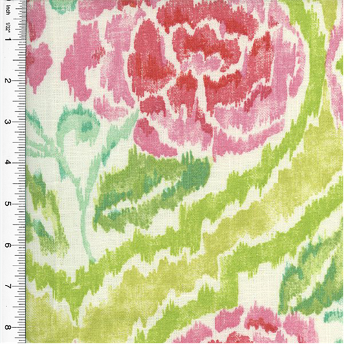 Designer Cotton Pink/Green Nadia Floral Ogee Print Home Decorating Fabric,  Fabric By The
