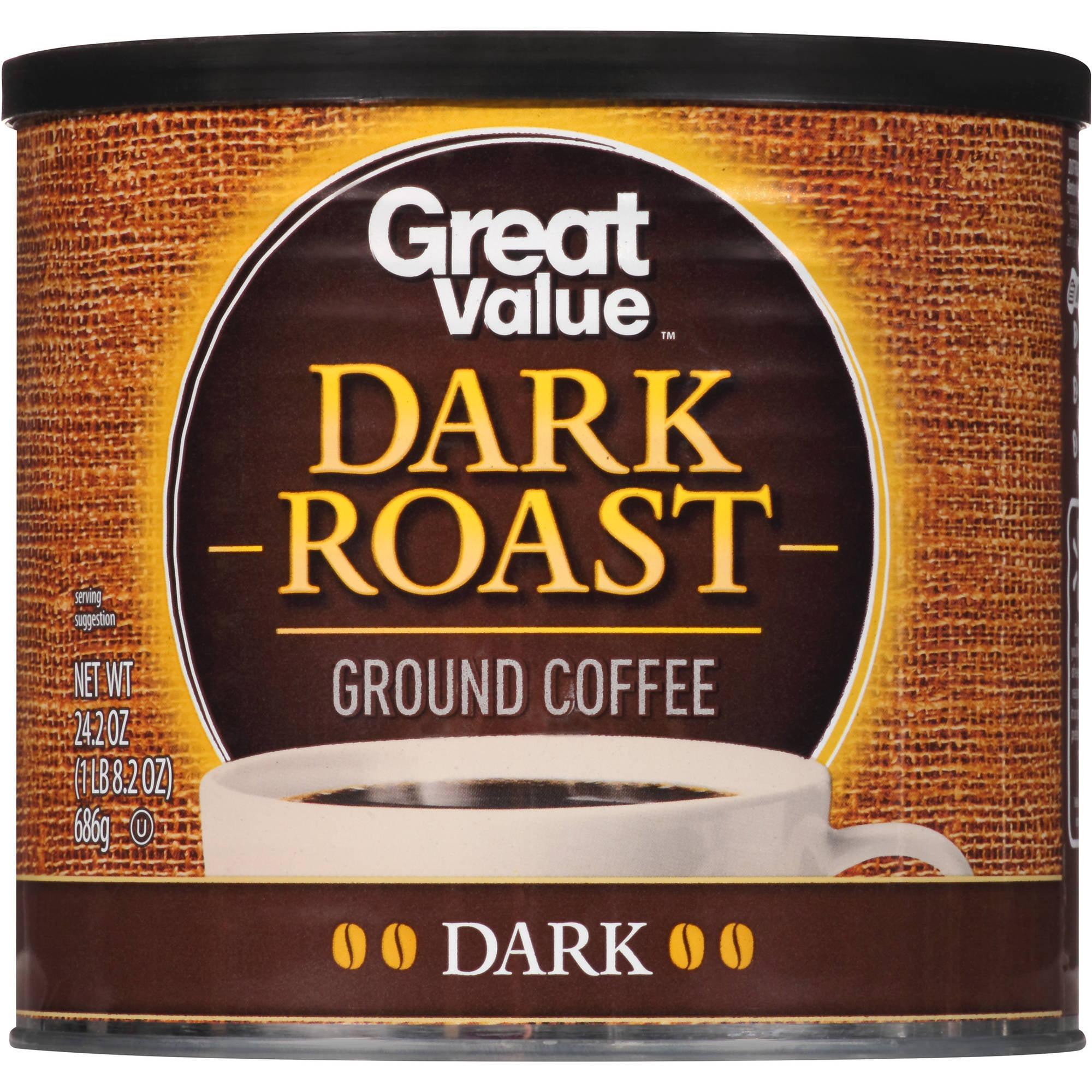 Great Value Dark Roast Dark Ground Coffee, 24.2 oz