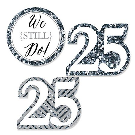 We Still Do - 25th Wedding Anniversary - DIY Shaped Party Cut-Outs - 24 Count