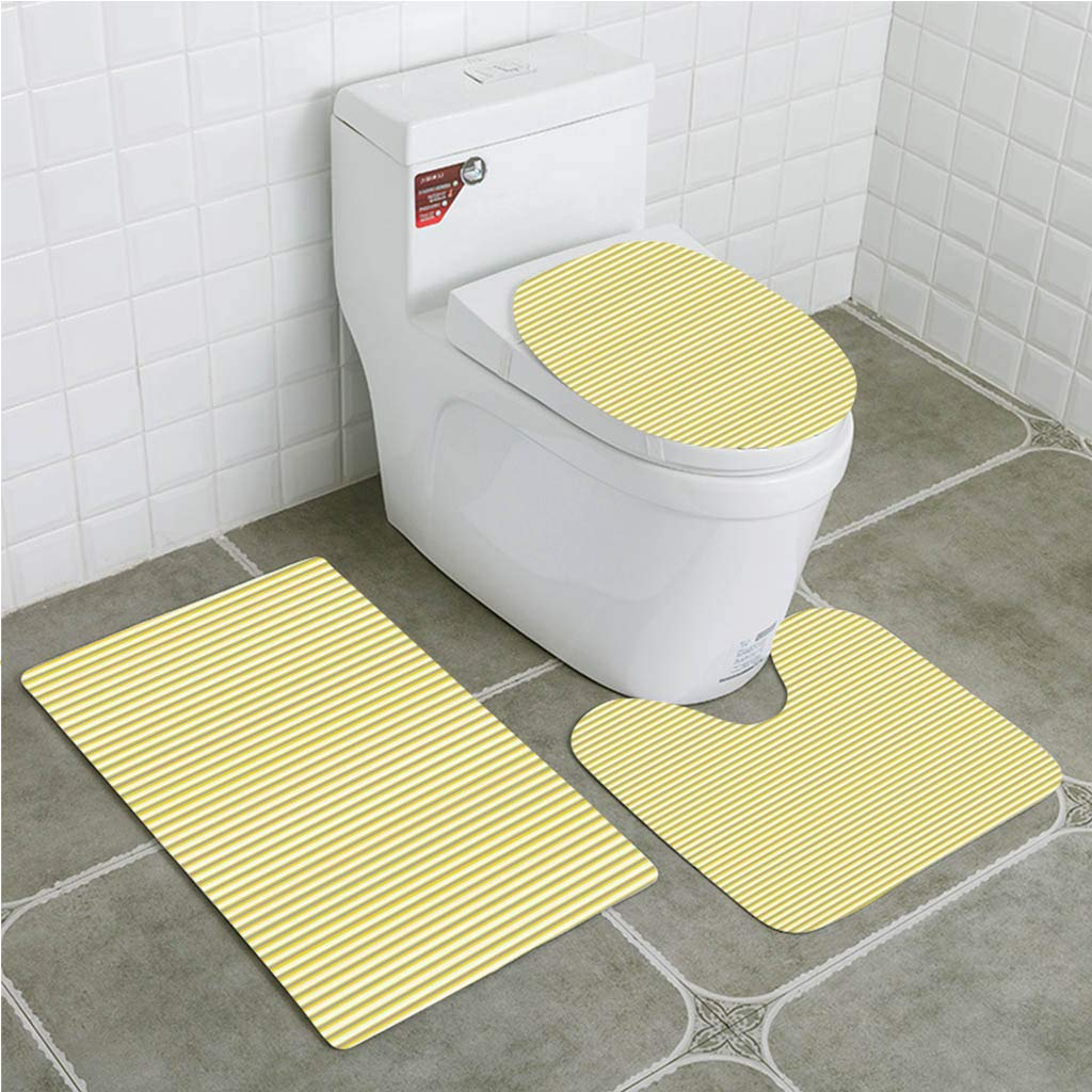 Xddja Grey And Yellow Circus Tent Inspired Vintage Retro Stripes Modern Light Yellow 3 Piece Bathroom Rugs Set Bath Rug Contour Mat And Toilet Lid Cover Walmart Canada